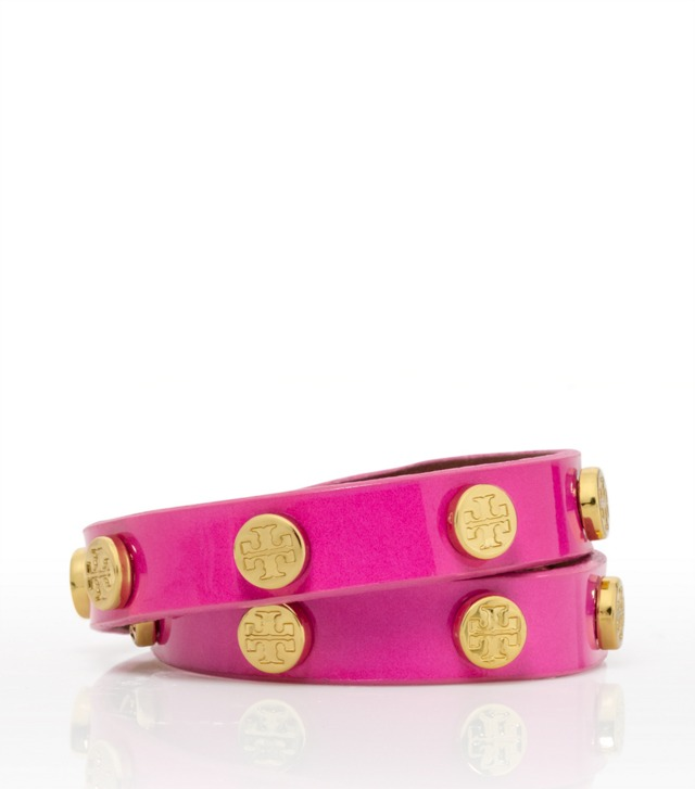 LIMITED-EDITION PINK DOUBLE WRAP LOGO STUD BRACELET