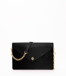 Black- Tory Burch Robinson Envelope Clutch