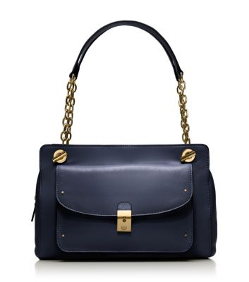 Medium Navy Tory Burch Priscilla Shoulder Bag