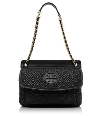 Black Tory Burch Marion Quilted Small Shoulder Bag