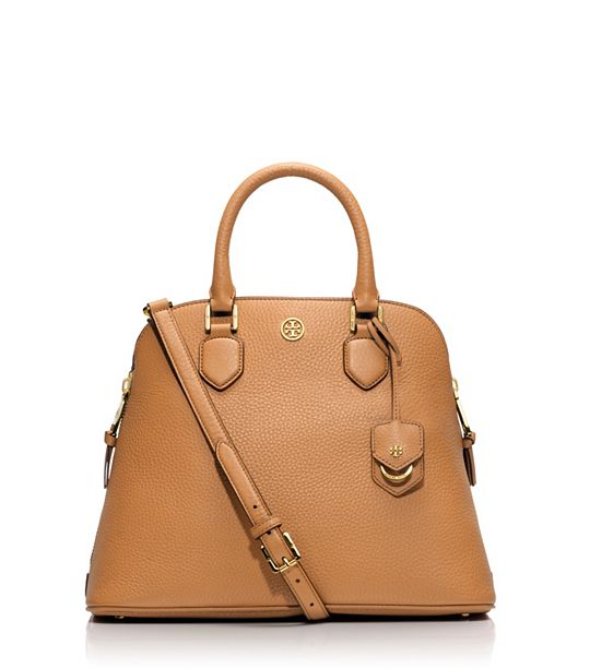 TORY BURCH'S ROBINSON PEBBLED OPEN DOME SATCHEL