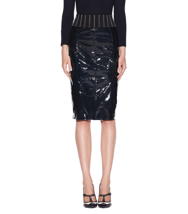 AUTUMN PATENT LEATHER SKIRT