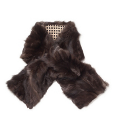 Tory Burch Silver Fox Fur Plated Pull Through Scarf