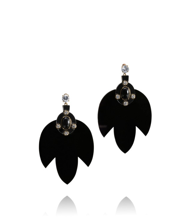 MULTI JEWELED LEAF DANGLE EARRING