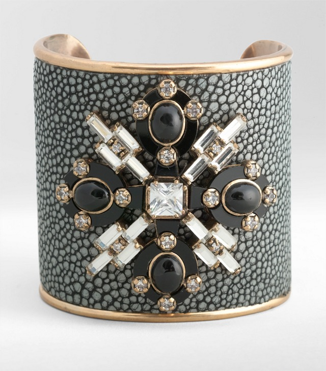 MULTI JEWELED LEATHER CUFF
