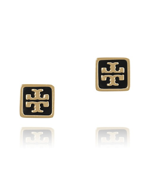 RESIN SQUARE LOGO STUD EARRING