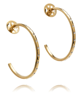 Crystal/shiny Gold Tory Burch Large Mccoy Metal Pavé  Hoop Earring