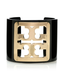 Black/gold Tory Burch Framed Logo Cuff