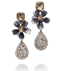 Tory Burch Square Stone Diamanté Tear Drop Earring