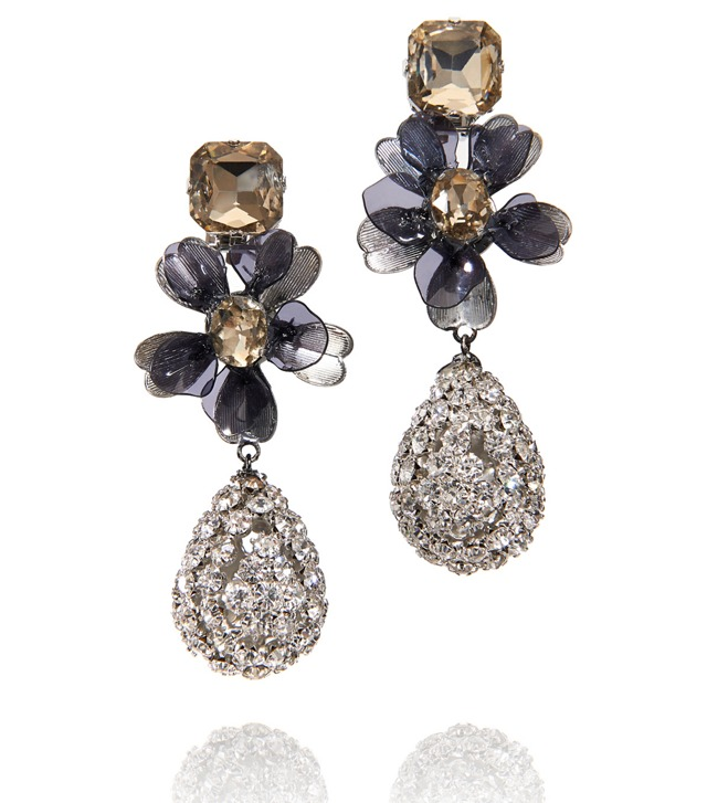 SQUARE STONE DIAMANTÉ TEAR DROP EARRING