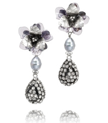Tory Burch Floral Pearl Diamanté Tear Drop Earring
