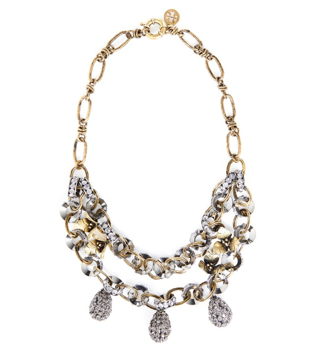 DOUBLE CHAIN DIAMANTÉ TEAR DROP NECKLACE
