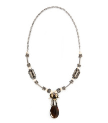 Tory Burch Deco Floral Tear Drop Necklace