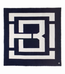 Navy/ivory Tory Burch Tb Graphic Blanket