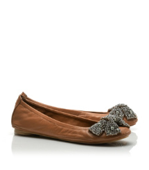 Tory Burch Leather Eddie Bow Ballet Flat