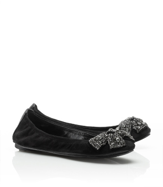 Tory Burch Suede Eddie Ballet Flat With Bow