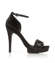 Viola Satin and Velvet Sandal
