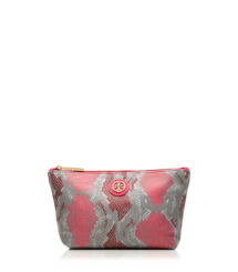 Carnation Red Multi (pop Snake C) Tory Burch Pop Snake Small Slouchy Cosmetic Case