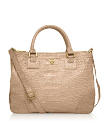 Tory Burch Croc Embossed Robinson Double Zip Tote