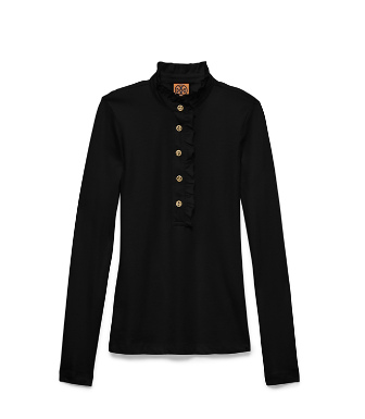 Black Tory Burch Long-sleeve Lidia Polo