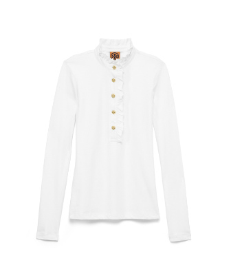 White Tory Burch Long-sleeve Lidia Polo