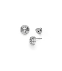 Silver Tory Burch Small Domed Logo Stud Earring