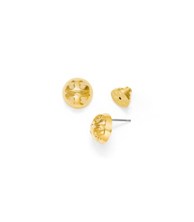 Gold Tory Burch Small Domed Logo Stud Earring