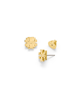 "Gold Tory Burch Large ""t"" Logo Stud Earring"