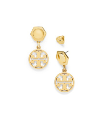Gold Tory Burch Circle Logo Earring