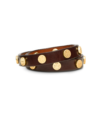 Tory Burch Leather Double Wrap Logo Stud Bracelet