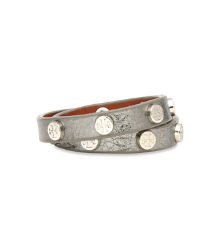 Tory Burch Metallic Double Wrap Logo Stud Bracelet