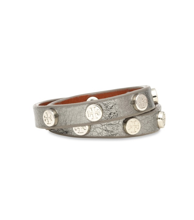 METALLIC DOUBLE WRAP LOGO STUD BRACELET