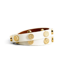 Ivory Tory Burch Patent Foundation Double Wrap Logo Stud Bracelet