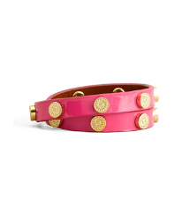 Deep Rose Tory Burch Patent Foundation Double Wrap Logo Stud Bracelet
