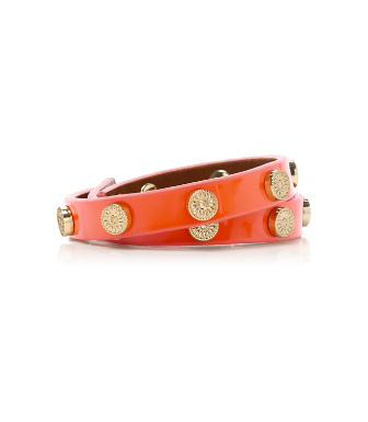 Tory Burch Patent Foundation Double Wrap Logo Stud Bracelet