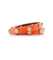 Blood Orange Tory Burch Patent Foundation Double Wrap Logo Stud Bracelet