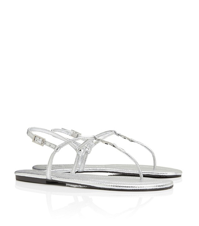 METALLIC TUMBLED LEATHER EMMY SANDAL