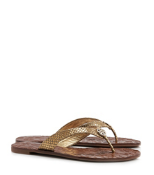 Tory Burch Thora Metallic Snake-print Sandal