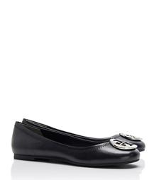 Black/silver Tory Burch Reva Ballet Flat