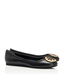 Black/gold Tory Burch Reva Ballet Flat
