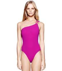 Party Fuschia. Tory Burch Logo One-shoulder Maillot