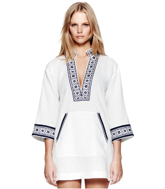 White/navy Tory Burch Tory Linen Tunic