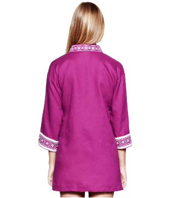 Party Fuschia/ivory Tory Burch Tory Linen Tunic