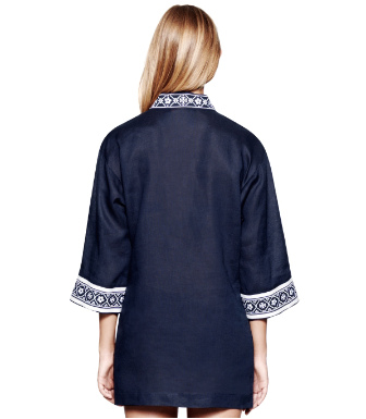 Tory Navy/white Tory Burch Tory Linen Tunic