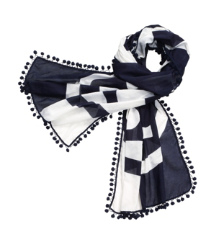 Printed Reva Scarf with Pom-Poms