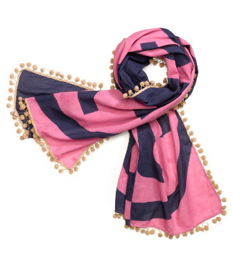 Tory Burch Printed Reva Scarf With Pom-poms