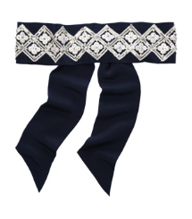 Tory Burch Diamond Embroidered Sash / Headband