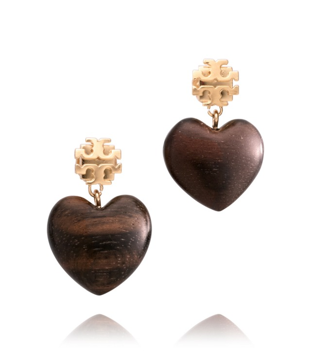 WOODEN HEART DANGLE EARRING