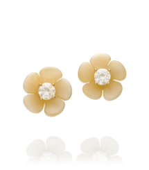 Dark Horn/crystal Golden Shadow Tory Burch Flora Small Earring
