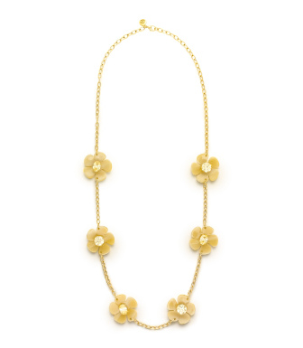 Dark Horn/crystal Golden Shadow Tory Burch Flora Rosary Necklace